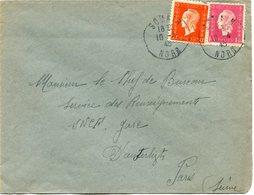 FRANCE LETTRE DEPART SOMAIN 10-4-45 NORD POUR LA FRANCE - 1944-45 Maríanne De Dulac