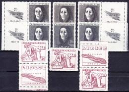 ** Tchécoslovaquie 1947 Mi 518-20+ Zf (Yv 446-8+vignettes), (MNH) - Tschechoslowakei/CSSR