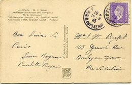 FRANCE CARTE POSTALE DEPART PARIS 19-9-45 R. DU FG ST MARTIN POUR LA FRANCE - 1944-45 Maríanne De Dulac