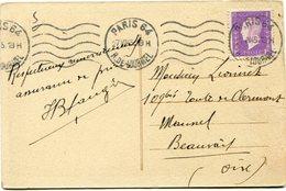 FRANCE CARTE POSTALE DEPART PARIS 27 VII 45 R. DE LOURMEL POUR LA FRANCE - 1944-45 Maríanne De Dulac