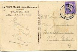 FRANCE CARTE POSTALE DEPART DINARD 1-10-45 ILLE ET VILAINE POUR LA FRANCE - 1944-45 Maríanne De Dulac