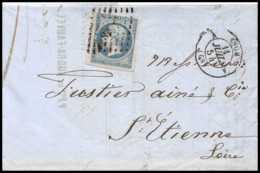 8155 LAC 1854 N 14 Bleu Laiteux TB Napoleon 20c Pc 1818 Lyon Rhone St Etienne Loire France Lettre Cover - 1849-1876: Période Classique