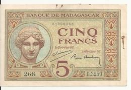 MADAGASCAR  5 FRANCS ND VF P 35 - Madagascar