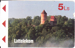 LATVIA(Alcatel) - Castle, First Issue 5 Ls, Used - Lettonia