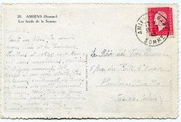 FRANCE CARTE POSTALE DEPART AMIENS-GARE 31-5-45 SOMME POUR LA FRANCE - 1944-45 Maríanne De Dulac