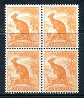 Australia 1948-56 Definitives - No. Wmk. - ½d Kangaroo Block Of 4 MNH (SG 228) - 1937-52 George VI