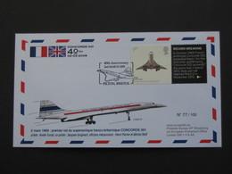 2 MARS 1969 : Premier Vol Du Supersonique Franco- Britanique CONCORDE 001 N°77/100  **** EN ACHAT IMMEDIAT **** - Concorde