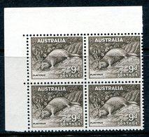 Australia 1948-56 Definitives - No. Wmk. - 9d Platypus Block Of 4 MNH (SG 230c) - 1937-52 George VI