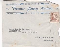 1945 COMMERCIAL COVER: FRANCISCO JIMENEZ MARTINEZ. CIRCULEE SPAIN, MADRID TO TARRAGONA - BLEUP - 1931-50 Cartas