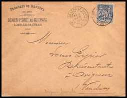9074 Entete Fromages Guichard LSC 1899 N°101 Sage 15c Lons Le Saunier Jura Avignon France Lettre Cover - Marcophilie (Lettres)
