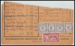 9180 N°121 1f + Taxe 44 Bande 4 Merson 1917 France Fragment De Lettre Cover - Marcofilie (Brieven)