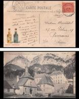 9335 Publicite Grande Chartreuse N°129 Semeuse 10c Convoyeur St Laurent Du Pont Roman Isere 1905 France Carte Postale - Spoorwegpost