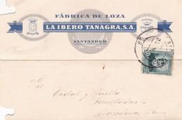 1934 COMMERCIAL CARD: FABRICA DE LOZA LA IBERO TANAGRA SA. CIRCULEE SPAIN - BLEUP - 1931-50 Cartas