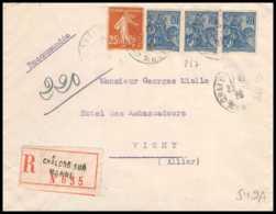 9374 N°257 Jeanne D'arc X3 + 235 Chalons Sur Marne Vichy Allier 1928 France Lettre Recommande Cover - Marcophilie (Lettres)