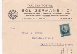 1934 COMMERCIAL CARD: SOL GERMANS I CIA. CIRCULEE SPAIN - BLEUP - 1931-50 Cartas