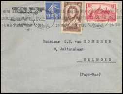 9402 Entete Association Chalons Sur Marne N°310 Ampere Physicien 290 Le Puy Krag 1936 Helmond Netherlands France Lettre - Marcophilie (Lettres)