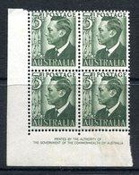 Australia 1950-52 KGVI Definitives - 3d King George VI (No Wmk.) Block Of 4 MNH (SG 237d) - 1937-52 George VI