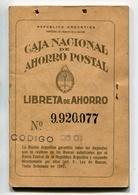LIBRETA DE AHORRO - CAJA NACIONAL DE AHORRO POSTAL, ARGENTINA AÑO 1956, CON SELLOS FISCALES Y MATASELLOS - LILHU - Facturas & Documentos Mercantiles