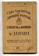 LIBRETA DE AHORRO - CAJA NACIONAL DE AHORRO POSTAL, ARGENTINA AÑO 1961, CON SELLOS FISCALES Y MATASELLOS - LILHU - Facturas & Documentos Mercantiles