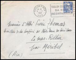 Lettre (cover) 5329 N°886 Marianne De Gandon 1951 Var Toulon Pour L'Abbé Thomas Miribel Ain - 1945-54 Marianna Di Gandon