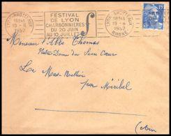 Lettre (cover) 5382 N°886 Marianne De Gandon 1952 Rhône Lyon Pour L'Abbé Thomas Miribel Ain - 1945-54 Marianna Di Gandon