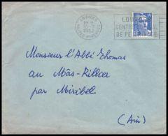 Lettre (cover) 5405 N°886 Marianne De Gandon 1952 LOURDES Pour L'Abbé Thomas Miribel Ain - 1945-54 Marianna Di Gandon