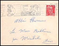Lettre (cover) 5430 N°813 Marianne De Gandon 1951 Rhône Lyon Gare Pour L'Abbé Thomas Miribel Ain - 1945-54 Marianna Di Gandon