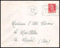 Lettre (cover) 5452 N°813 Marianne De Gandon 1951 Haute-Loire Le Puy-en-Velay Pour L'Abbé Thomas Miribel Ain - 1945-54 Marianna Di Gandon