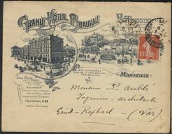 France 1908 Marseille Grand Hotel Beauvau Illustrated Envelope 188 - Storia Postale