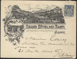 France 1898 Salins Grand Hotel Des Bains Illustrated Envelope 210 - 1876-1898 Sage (Tipo II)