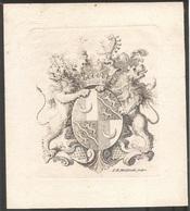 Ex-libris Comte François-Pierre-Frédéric DIESBACH DE TORNY (1739-1811). Fribourg. (retirage) - Ex Libris