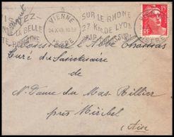 Lettre (cover) 5473 N°813 Marianne De Gandon 1951 Isère Vienne Pour L'Abbé Thomas Miribel Ain - 1945-54 Marianna Di Gandon
