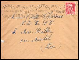 Lettre (cover) 5565 N°813 Marianne De Gandon 1949 Isère Vienne Pour L'Abbé Thomas Miribel Ain - 1945-54 Marianna Di Gandon