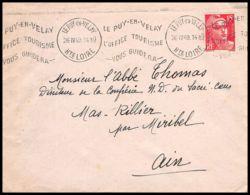Lettre (cover) 5572 N°813 Marianne De Gandon 1949 Haute-Loire Le Puy-en-Velay Pour L'Abbé Thomas Miribel Ain - 1945-54 Marianna Di Gandon