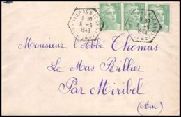 Lettre (cover) 5622 Marianne De Gandon 1949 Cachet Perlé Pour L'Abbé Thomas Miribel Ain - Francia