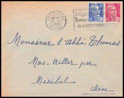 Lettre (cover) 5624 Marianne De Gandon 1949 Jujurieux Pour L'Abbé Thomas Miribel Ain - Francia