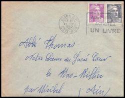 Lettre (cover) 5672 Marianne De Gandon 1952 DIJON COTE D OR Pour L'Abbé Thomas Miribel Ain - 1945-54 Marianna Di Gandon