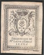 Ex-libris Louis-Joseph LALIVE D'EPINAY (1746-1813). Fribourg. - Ex Libris