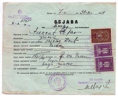 1944 WWII, YUGOSLAVIA, KRALJEVO, CACAK, TRAVEL PERMIT, 3 FISKAL STAMPS, TWO OF KRALJEVO REGION - Historical Documents