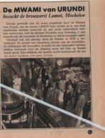 MECHELEN..1950.. DE MWAMI VAN URUNDI BEZOCHT DE BROUWERIJ LAMOT MECHELEN - Documentos Antiguos