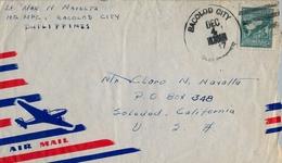 1947 , FILIPINAS / PHILIPPINES , SOBRE CIRCULADO , BACOLOD CITY - SOLEDAD ( CALIFORNIA ), CORREO AÉREO - Filipinas