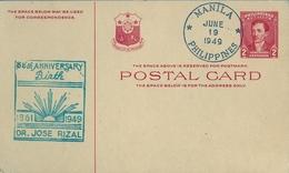 1949 FILIPINAS / PHILIPPINES , ENTERO POSTAL SIN CIRCULAR , DR. JOSÉ RIZAL , 88 TH. ANNIVERSARY BIRTH - Filipinas