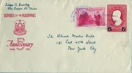1951 FILIPINAS / PHILIPPINES , ENTERO POSTAL CIRCULADO , SANTO TOMÁS - LA UNIÓN / NEW YORK . FR. COMPLEMENTARIO - Filipinas