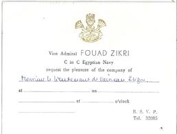 VICE ADMIRAL FOUAD ZIKRI  C In C Egyptian Navy Request  Monsieur Le Lieutenant De Vaisseau  ...... - Documents