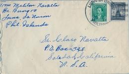 1949 FILIPINAS / PHILIPPINES , SOBRE CIRCULADO , LUNA / LA UNIÓN  - SOLEDAD ( CALIFORNIA ) - Filipinas