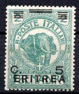 ERYTHREE (Colonie Italienne) - 1922 - N° 55 - 5 C. S. 2 B. Vert - (Timbre De Somalie Italienne De 1906) - Eritrea