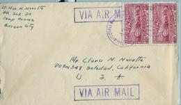 1948 FILIPINAS / PHILIPPINES , SOBRE CIRCULADO, QUEZÓN CITY - SOLEDAD ( CALIFORNIA ) , FAO - Filipinas