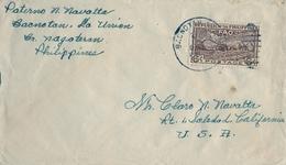1948 FILIPINAS / PHILIPPINES , SOBRE CIRCULADO, BACNOTAN / LA UNIÓN  - SOLEDAD ( CALIFORNIA ) , FAO - Filipinas
