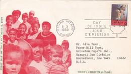 1969 FDC CANADA, MERRY CHRISTMAS NOEL NATALE NAVIDAD - BLEUP - Sobre Primer Día (FDC)