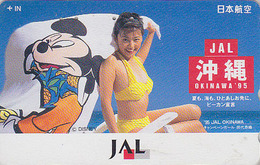 Télécarte Japon / 110-165747 - DISNEY JAL - JAPAN AIRLINES Phonecard - Femme OKINAWA BIKINI GIRL / Aviation Avion - Disney